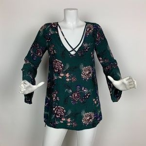 Free People Top Tunic Floral Green Size XS